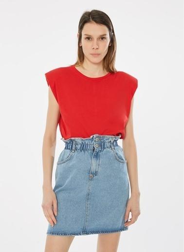 Loves You Bisiklet Yaka Vatkalı %100 Cotton T-Shirt Kırmızı